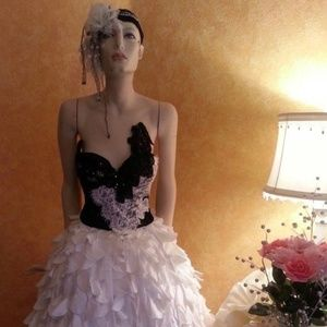 White & Black Lace Corset Petal Wedding Ballgown